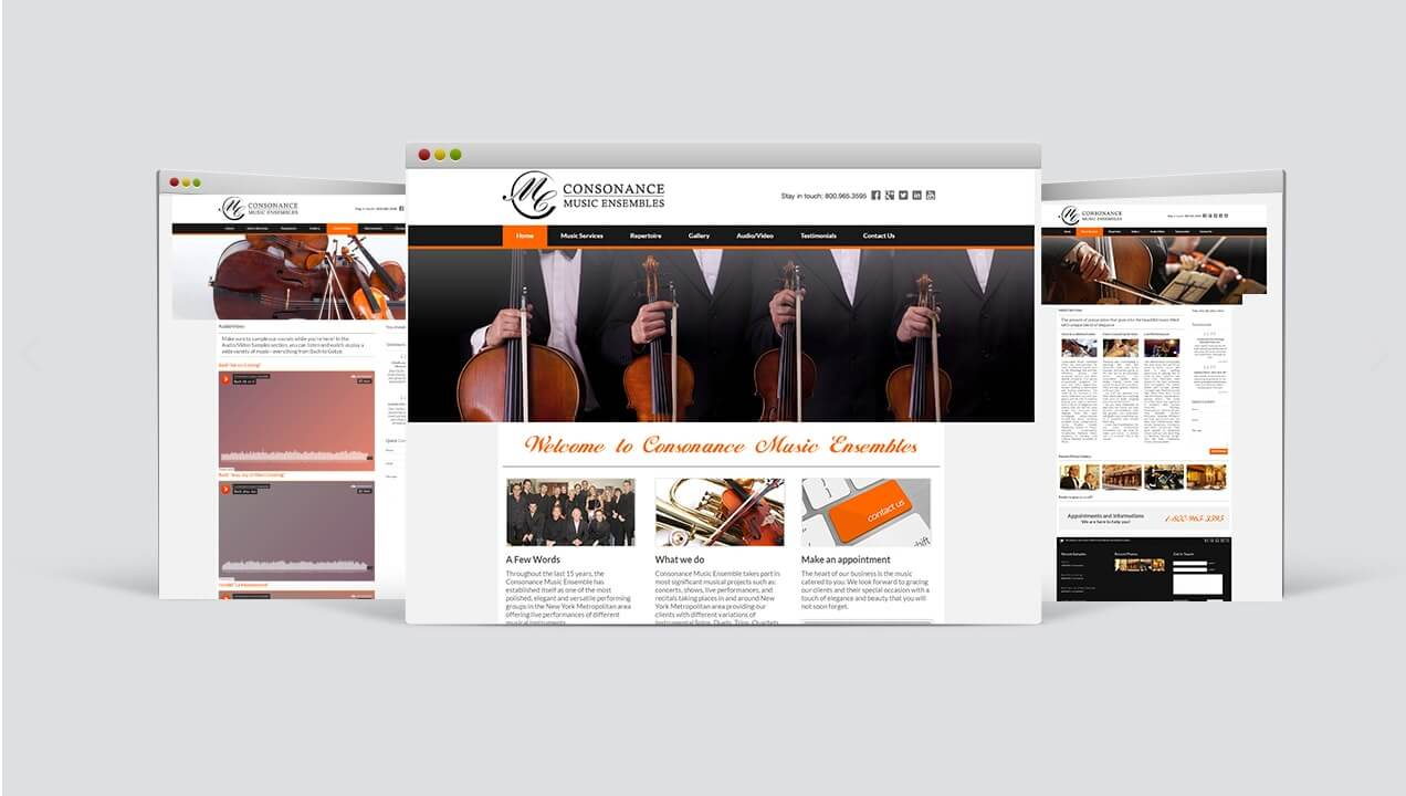 Consonance Music Ensembles revamped website design