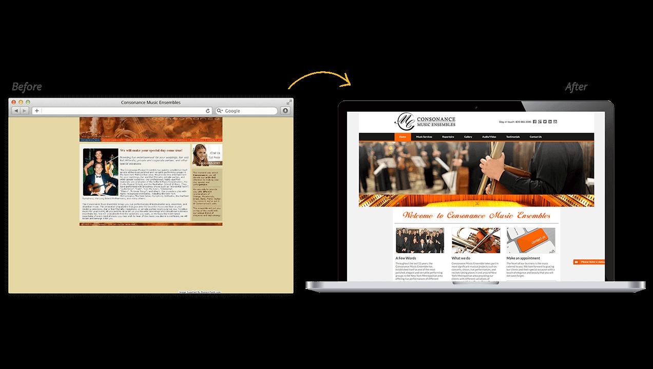 Consonance Music Ensembles Website Design Before After