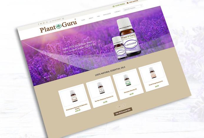 Plant Guru Custom Essential Oil Ecommerce Website