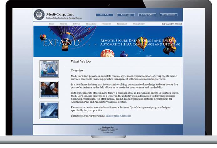 Medi-Corp Custom Medical Billing Website