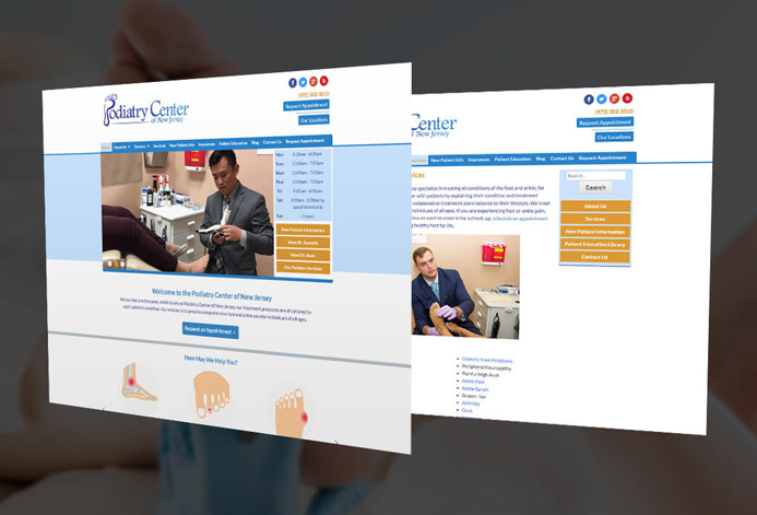 Podiatry Center of NJ Custom Podiatry Center Website