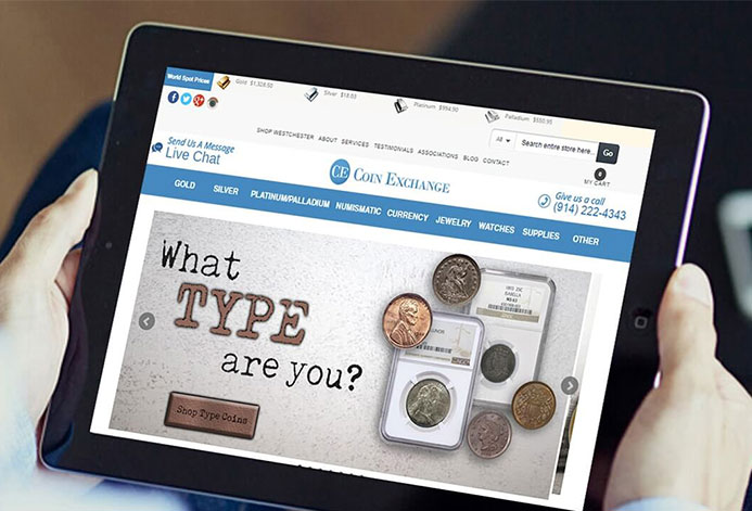 Coin Exchange NY Custom Retail Coin Shop Ecommerce Website