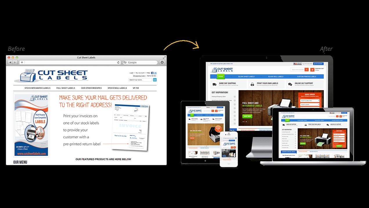 Cut Sheet Labels Website Design Before After