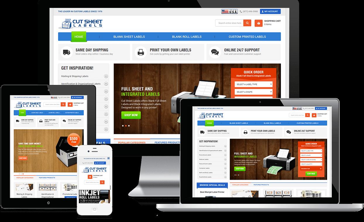 Cut Sheet Labels Responsive Website Design