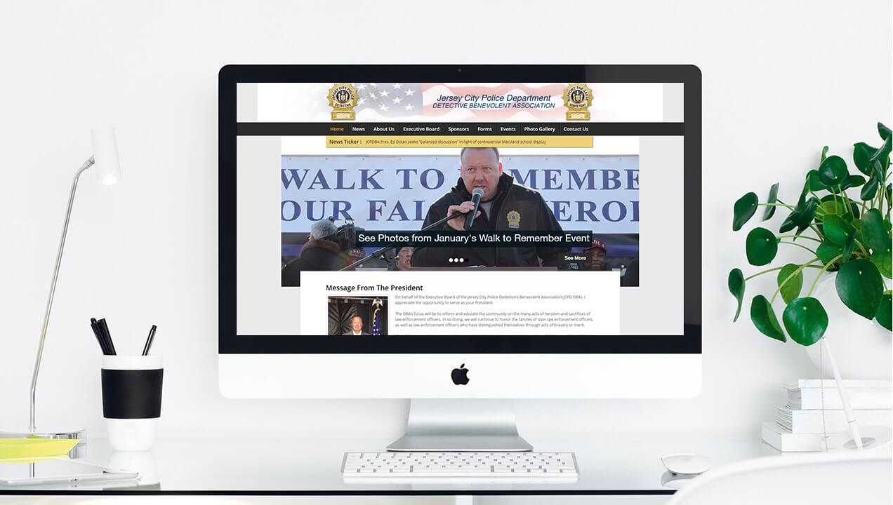 Jersey City Police Department new site on desktop