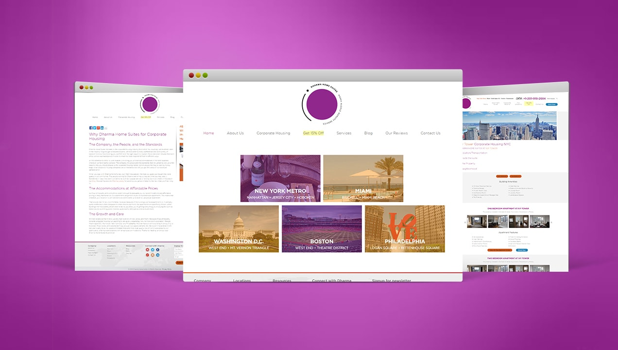Dharma Home Suites new Website design