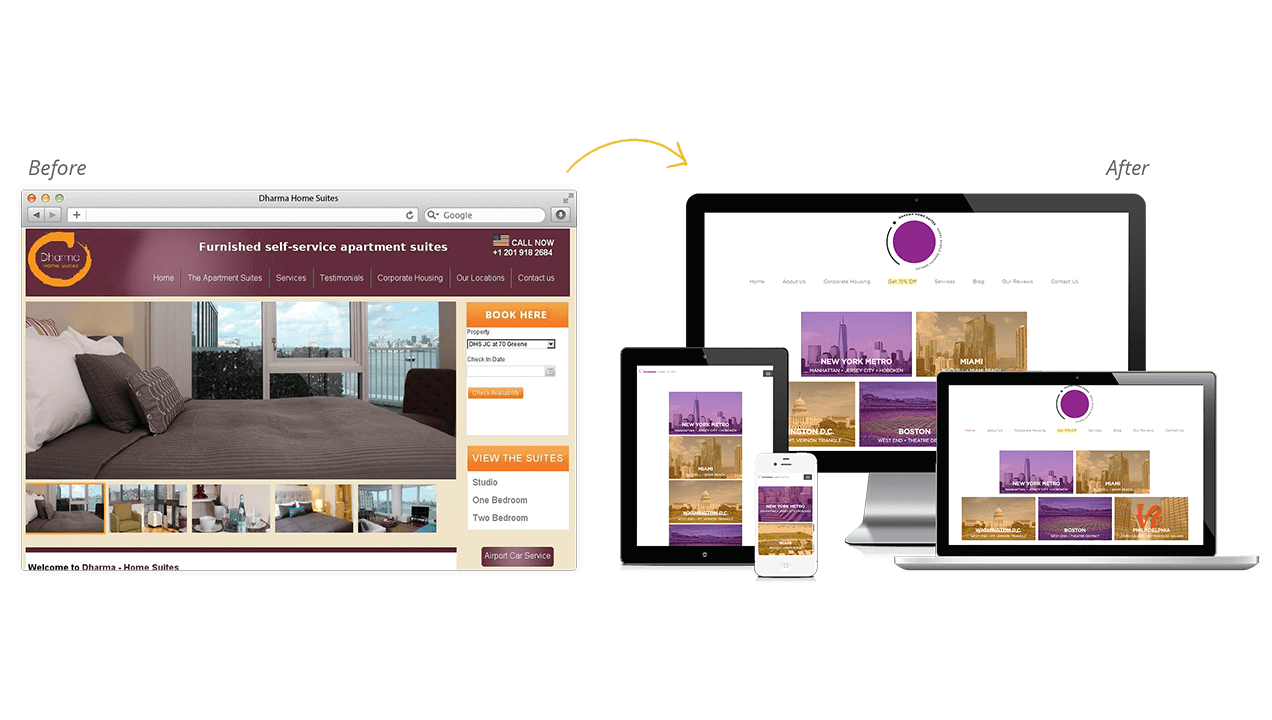 Dharma Home Suites Before & After Website Design