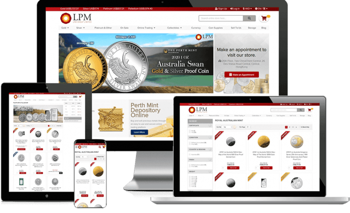 Ecommerce website for bullion shop