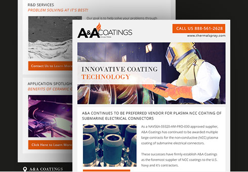 Email Newsletter Design for A & A Coatings