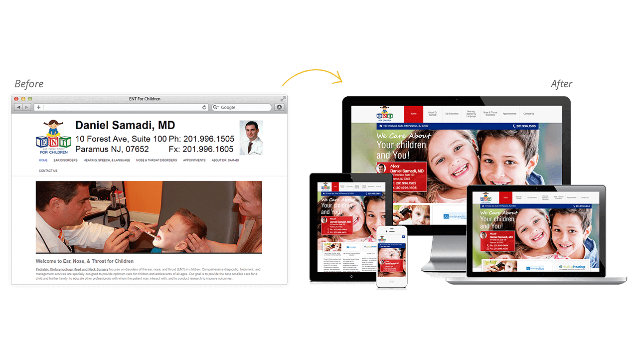 ENT for Children Website Design Before & After