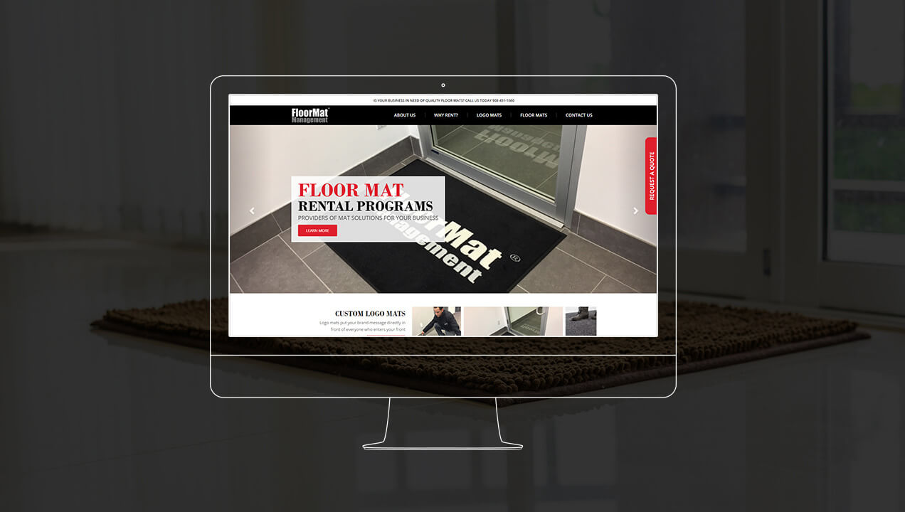 Floor Mat Management homepage on a desktop computer