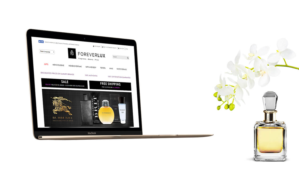 ForeverLux website on a laptop