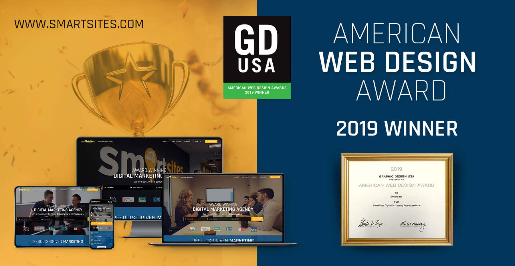 SmartSites Wins Graphic Design USA (GDUSA) 2019 American Web Design Award