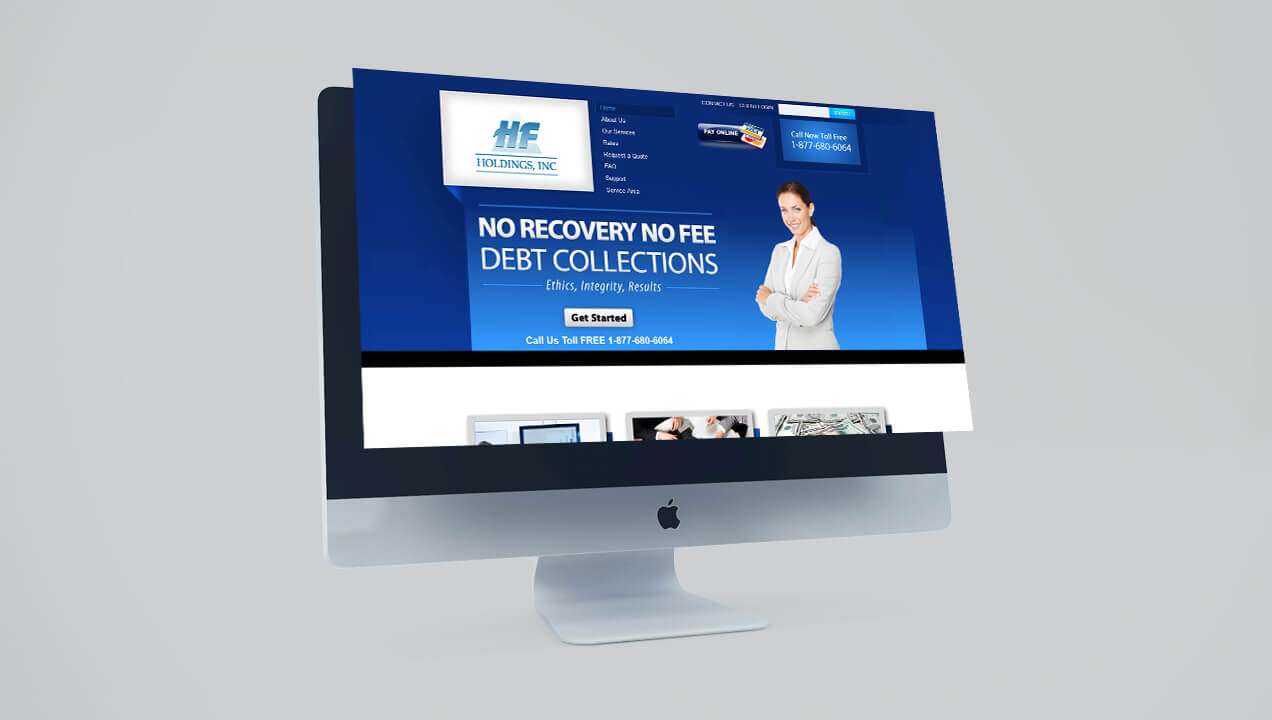 HF Holdings website on a desktop