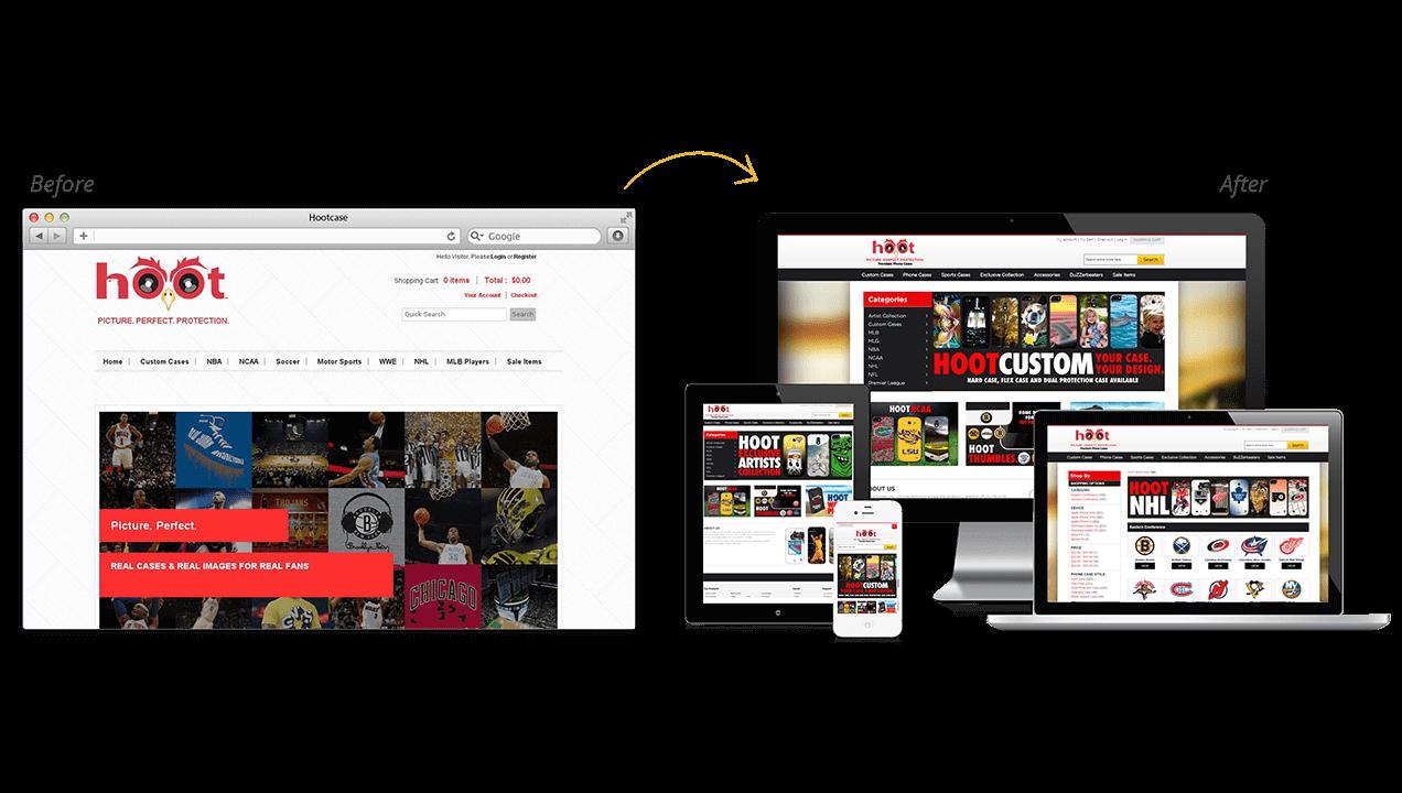 Hootcase Before & After Website Design