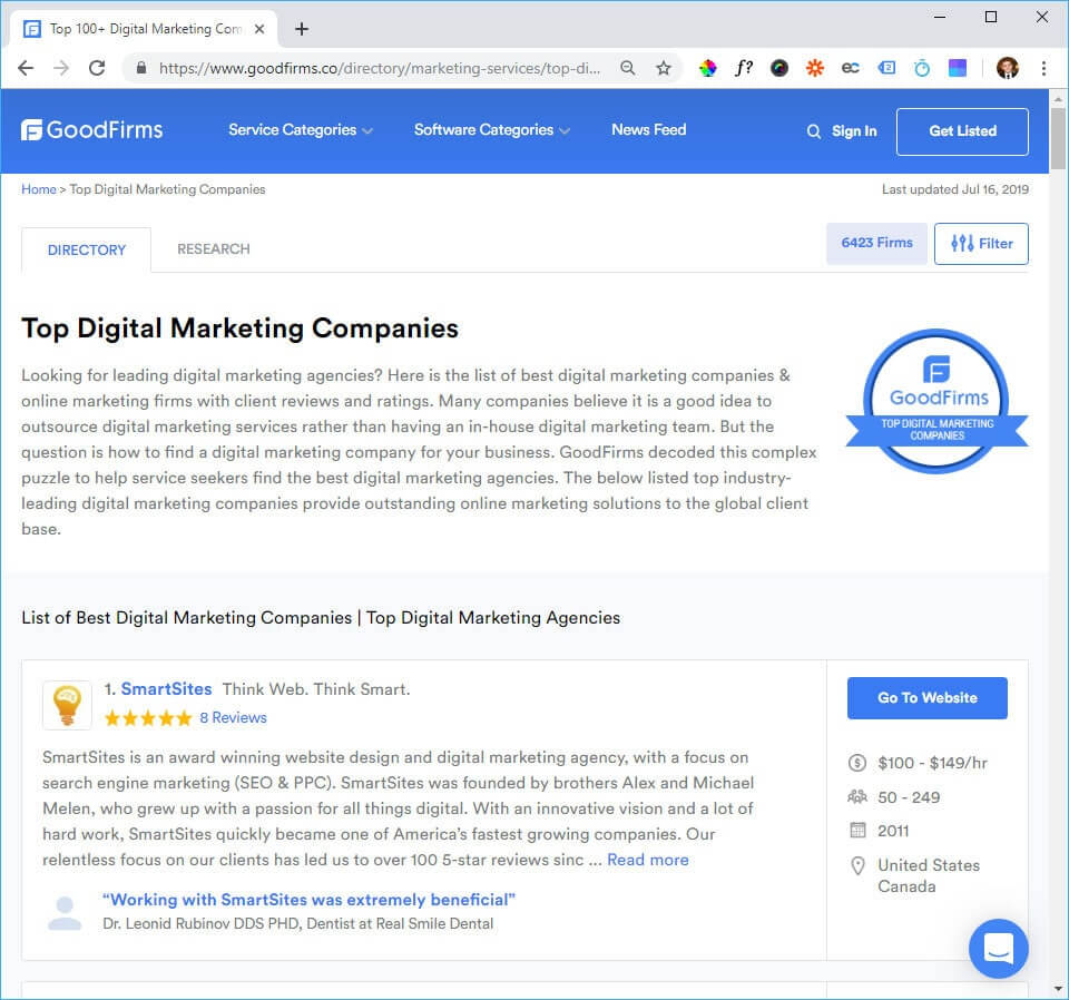 #1 Best in Digital Marketing by GoodFirms