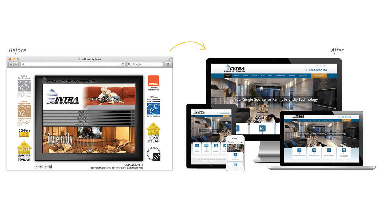 Intra Home Systems Before After Website Design