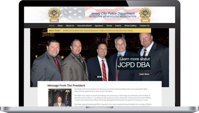 Custom website design for a police bureau nonprofit