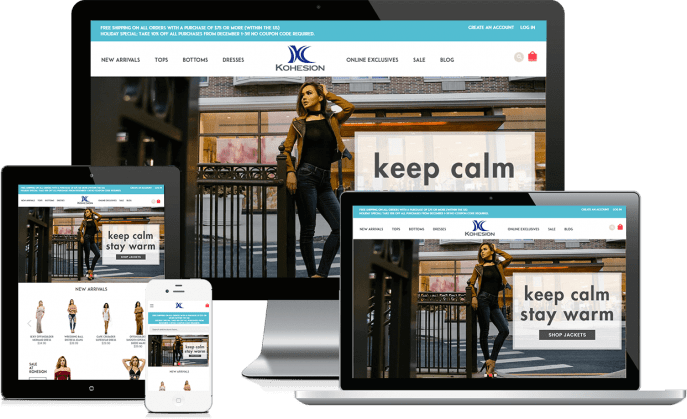 Custom website design for a women's clothing company