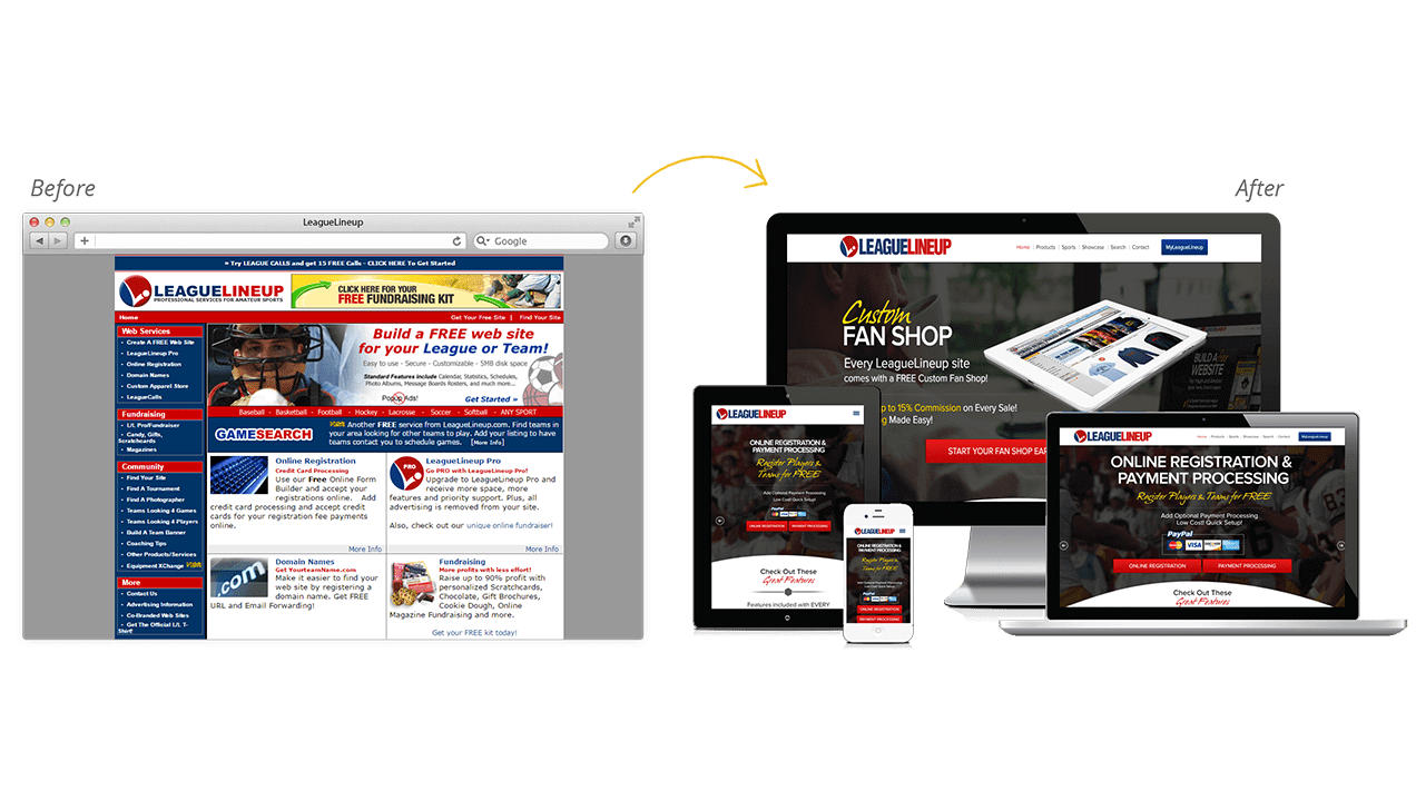 Leaguelineup Website Design Before After