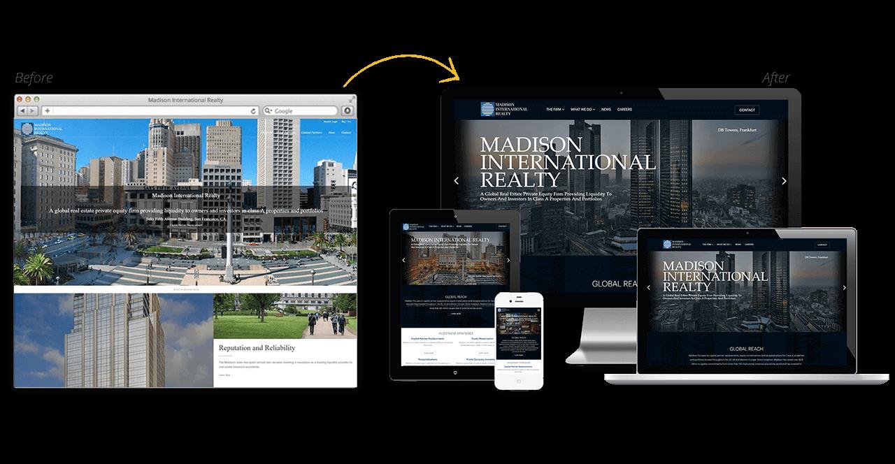 Madison International Website Redesign Before After