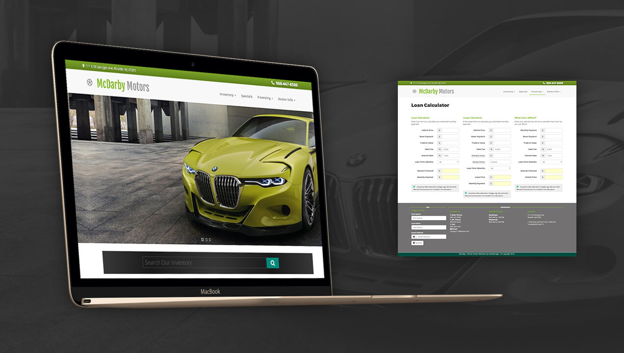 McDarby Motors updated website design