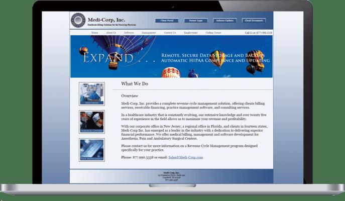 Custom website design for medical billing
