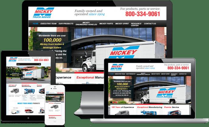 Custom website design for a specialty truck manufacturer