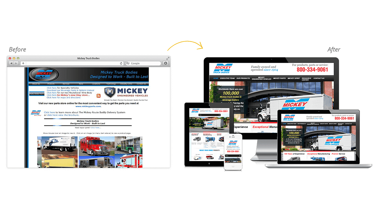 Mickey Truck Bodies Website Design Before After