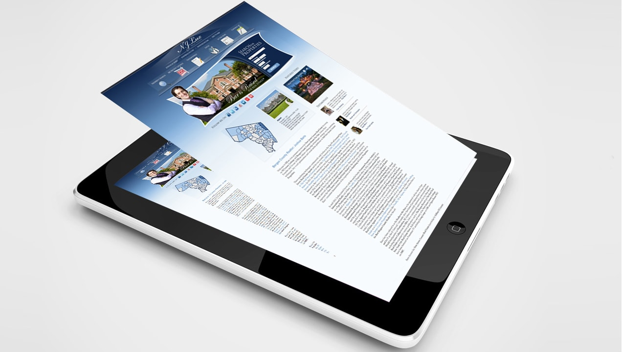 NJLux Real Estate website on tablet