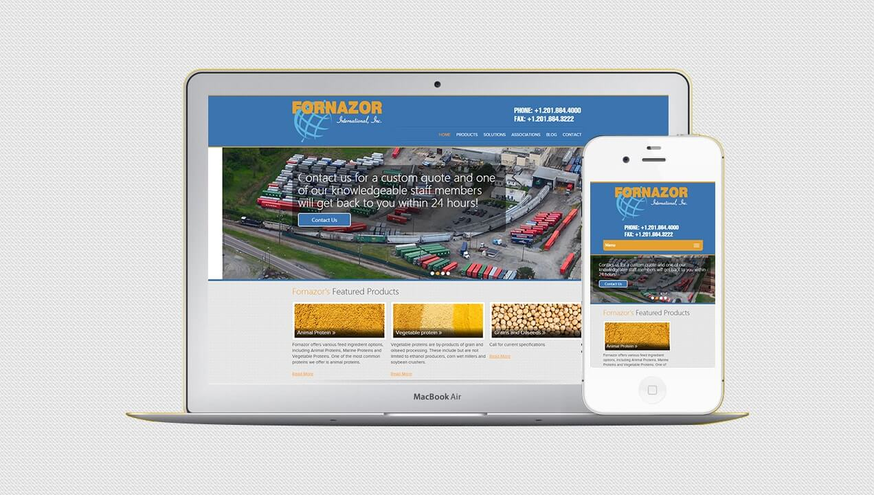 Fornazor International website on tablet and mobile views