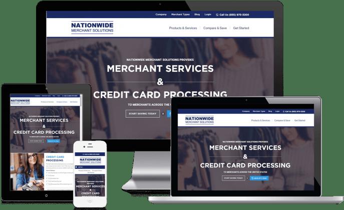 Custom website design for merchant services