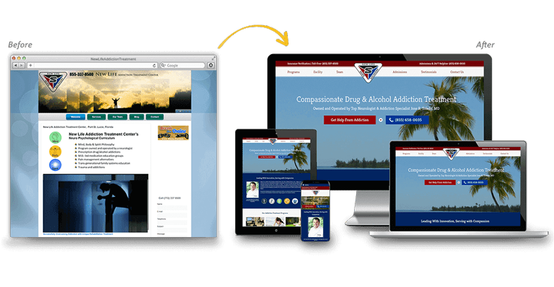 New Life Addiction Treatment: Medical Website Redesign