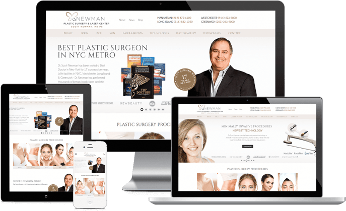 Custom website design for a plastic surgery center