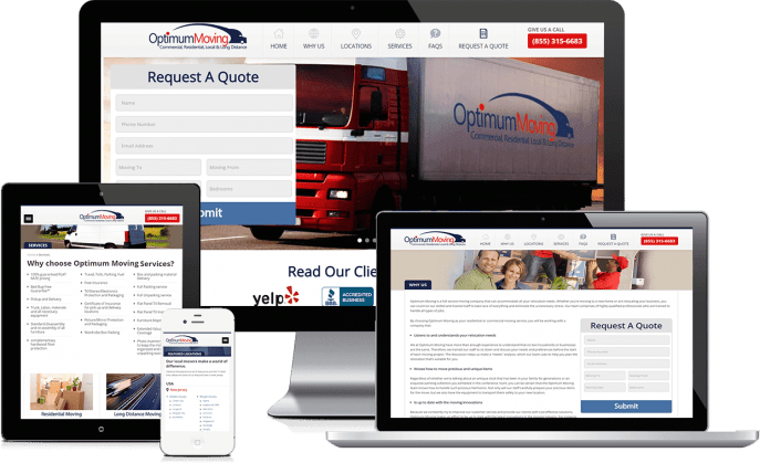 Custom website design for a moving company