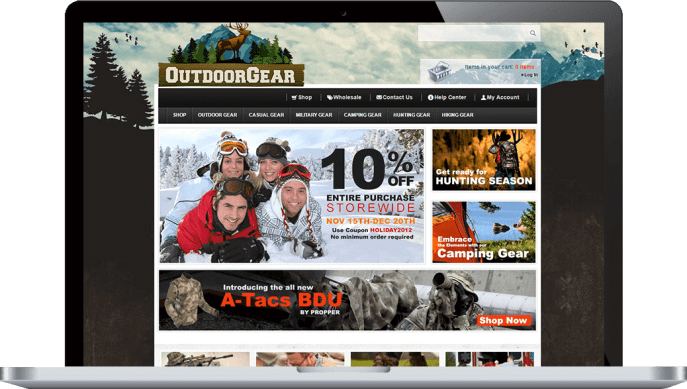 Ecommerce website for outdoor clothing