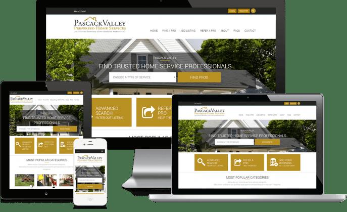 Custom website design for a home services directory
