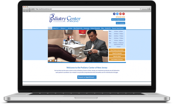Custom website design for a podiatry center