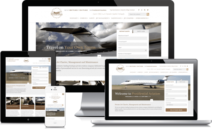 Custom website design for a private airline