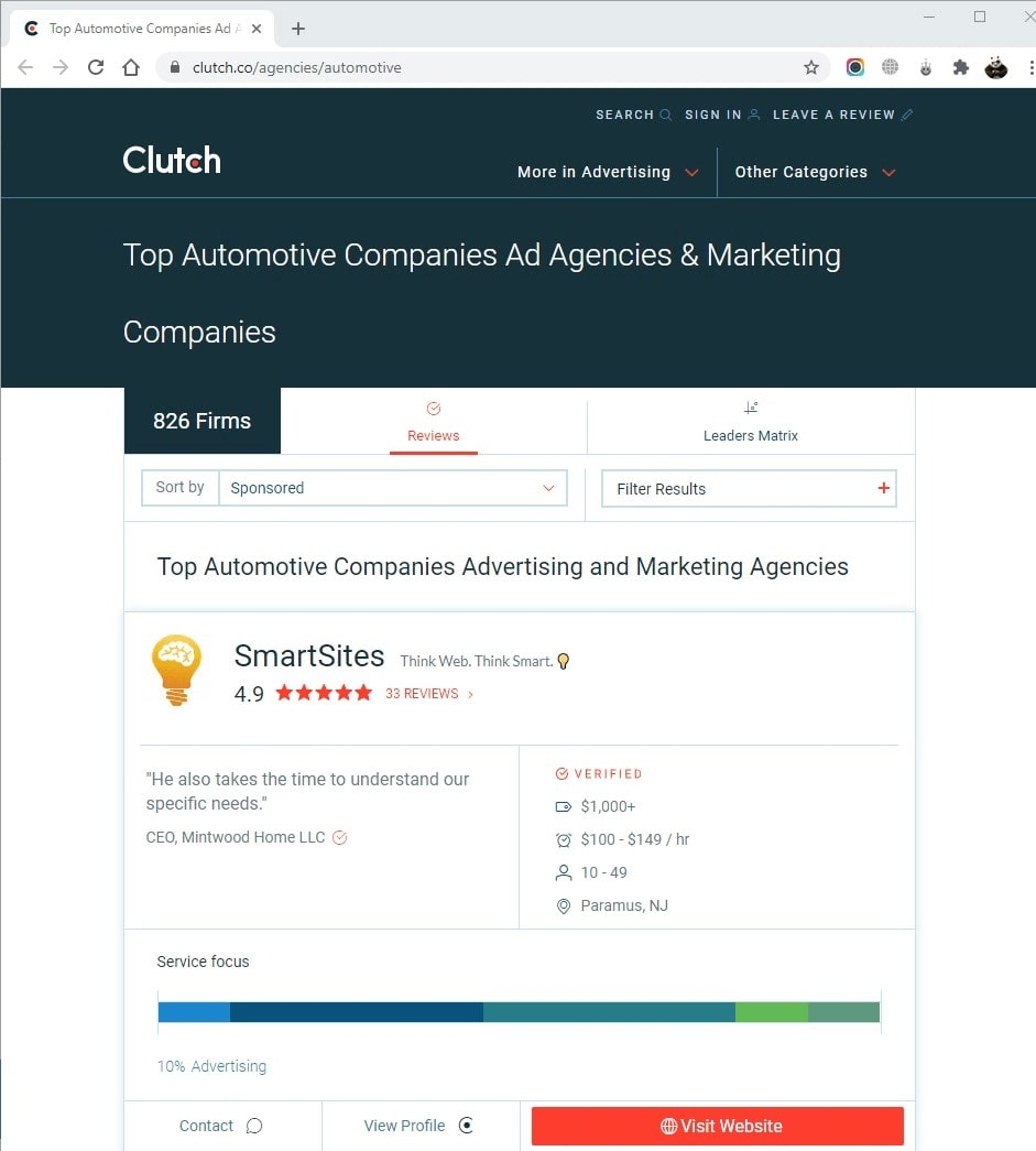 SmartSites Listed in Top Automotive Advertising