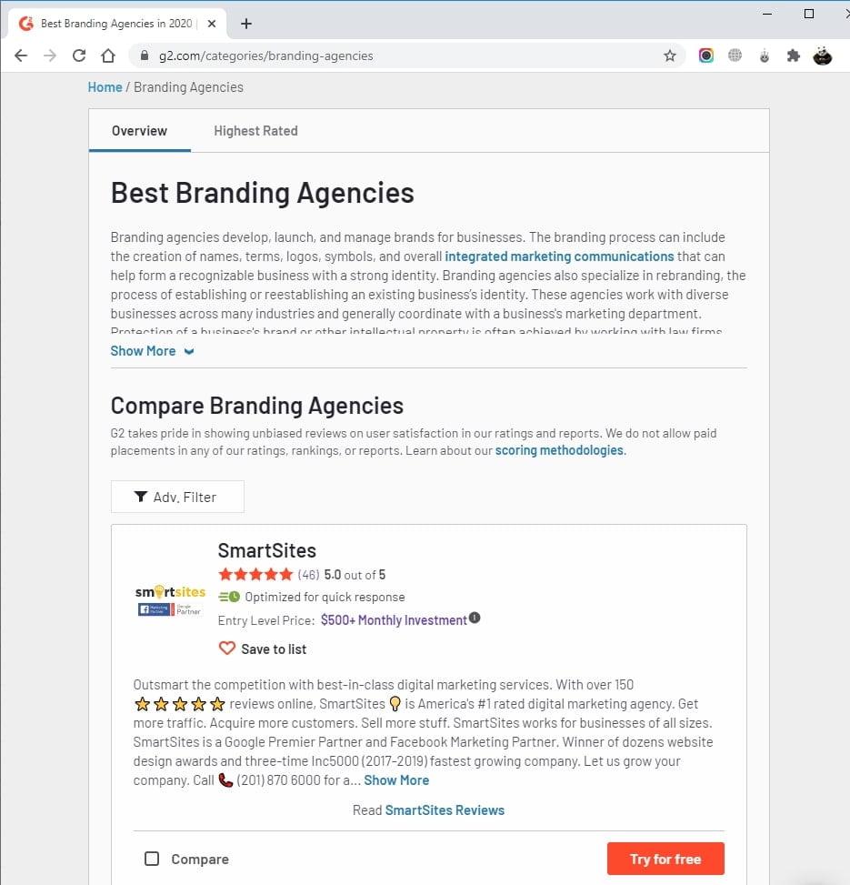 SmartSites Listed in Top Branding Agencies