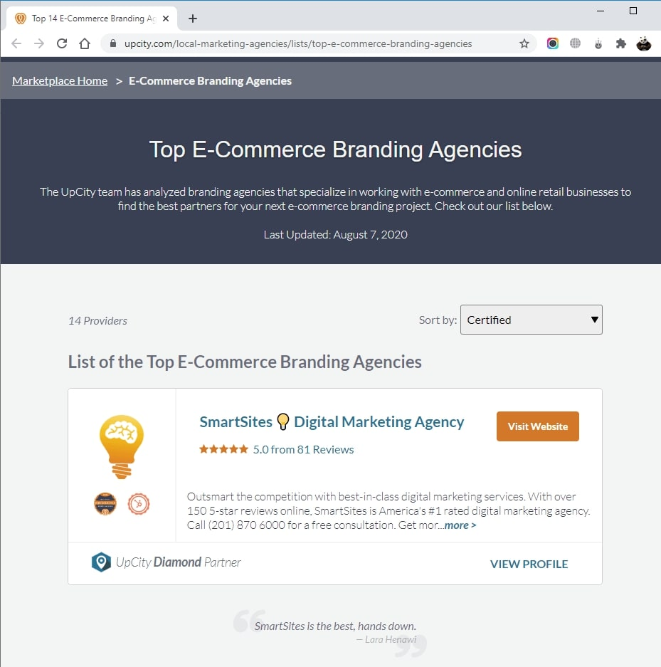 SmartSites Listed in Top E-Commerce Branding