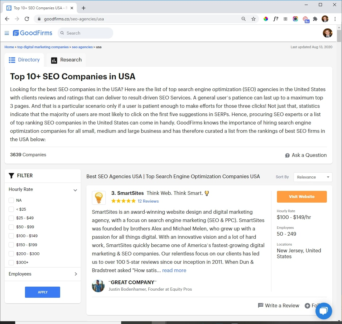 SmartSites Listed in Top Ecommerce SEO Companies