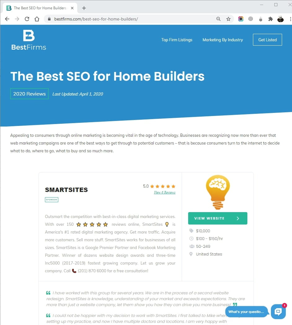 SmartSites Listed in Top Home Building SEO