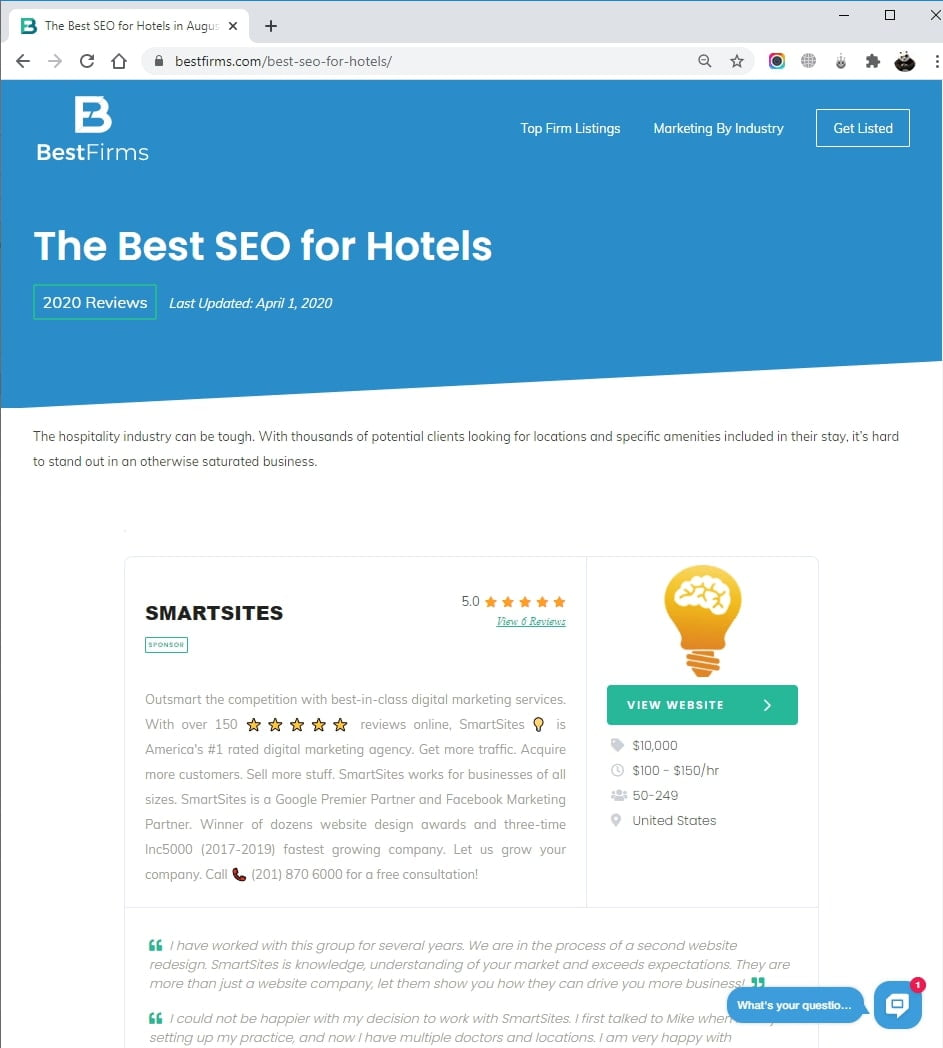 SmartSites Listed in Top Hotel SEO Service