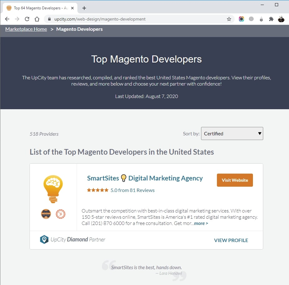 SmartSites Listed in Top Magento Design