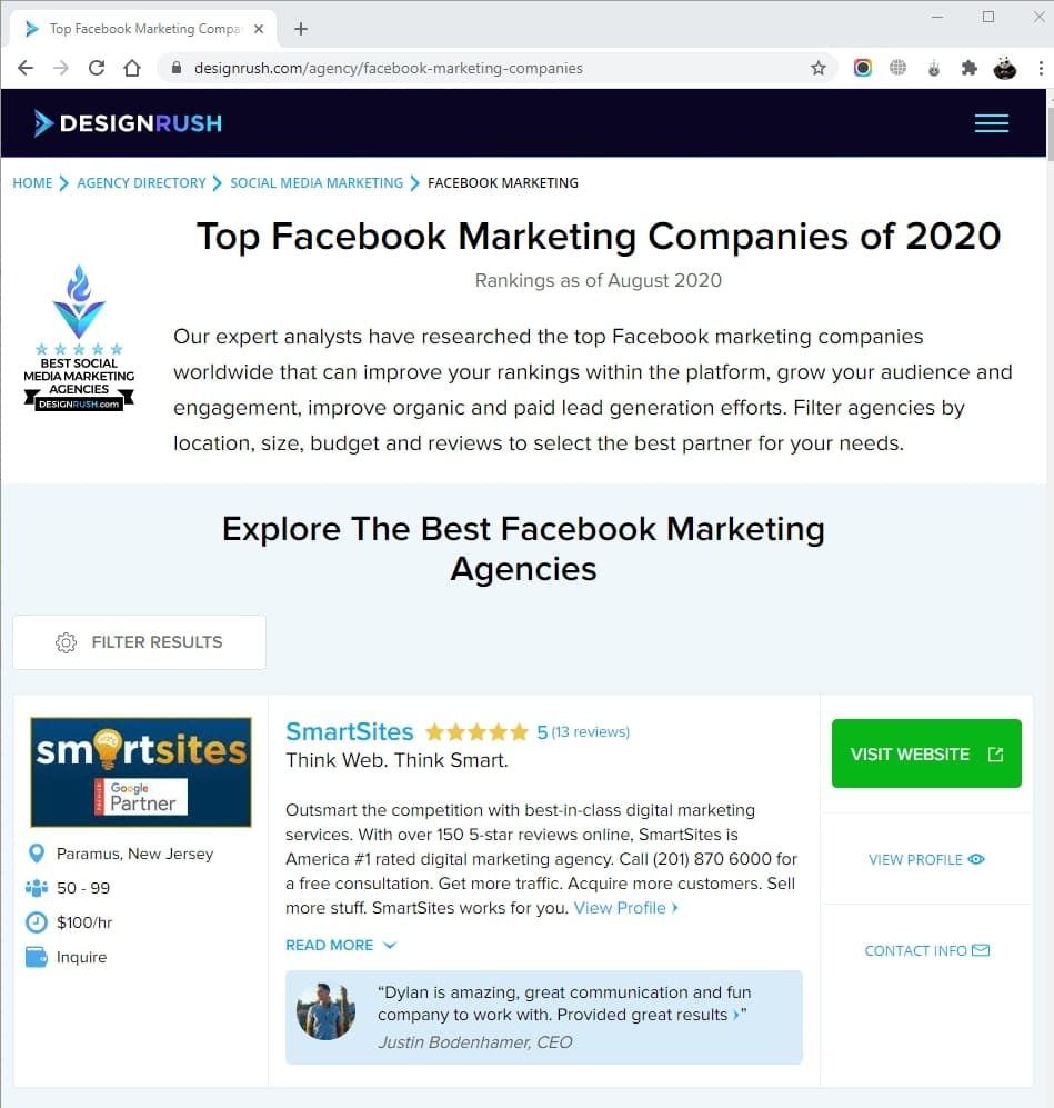 SmartSites Listed in Top Facebook Marketers