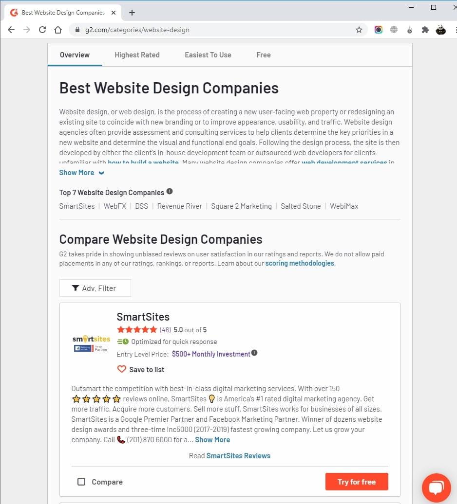 SmartSites Listed in Top Website Design
