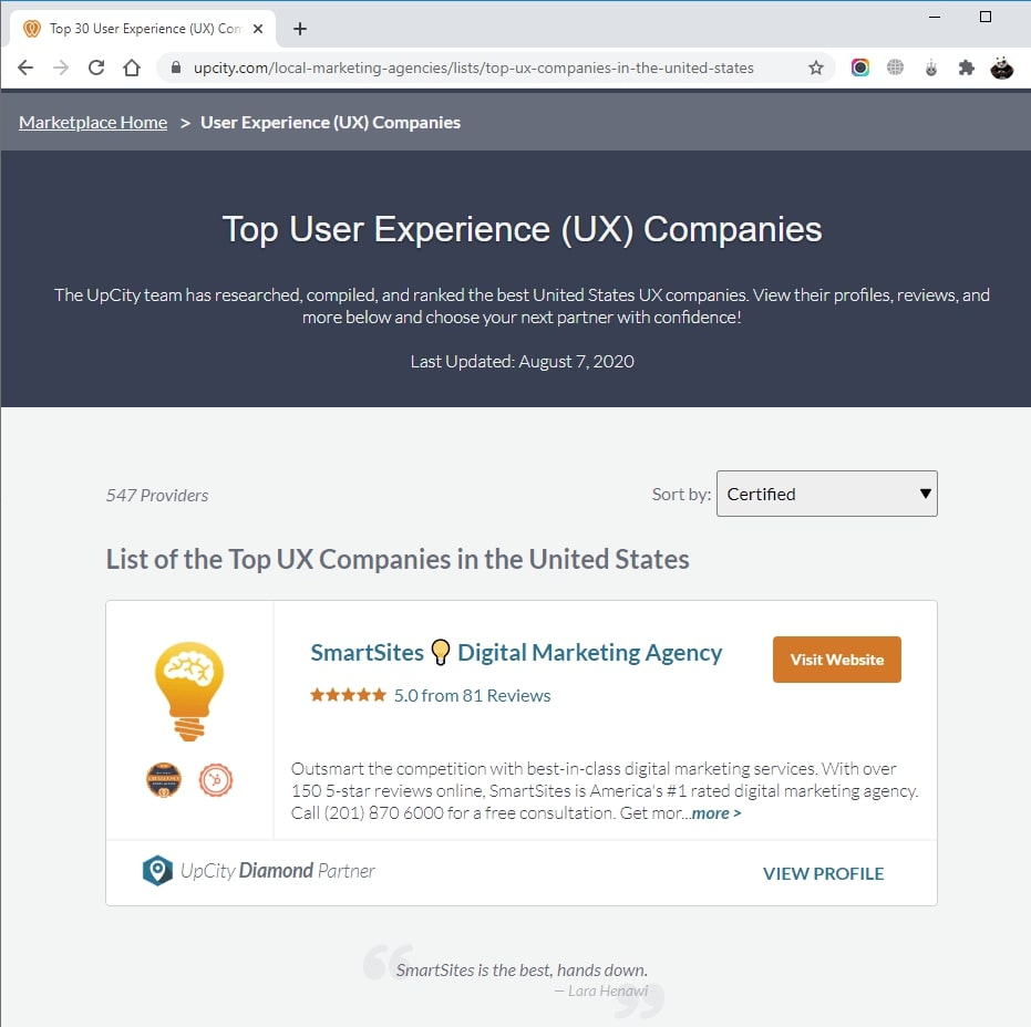 SmartSites Listed in Top User Experience