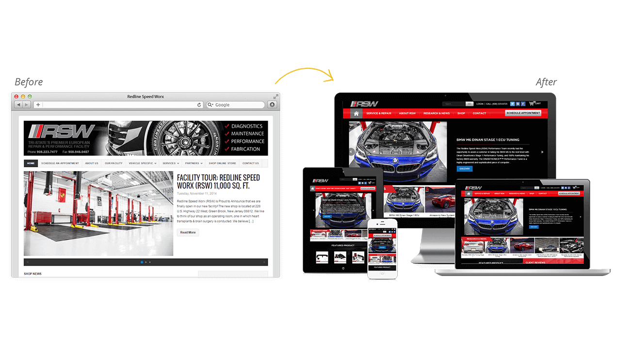 Redline Speed Worx website designs